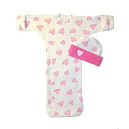 Jacqui's Baby Girls' Pretty Pink Hearts Bunting Gown and Hat