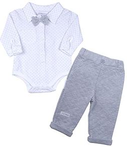 BabyPrem Baby Outfit Trousers & Shirt Grey 3-6 Months