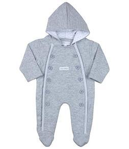 BabyPrem Baby Pramsuit Lined Hood Grey 0-3 Months