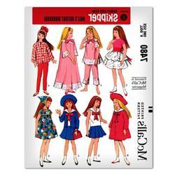 "Barbie Doll 9"" Skipper Sewing Pattern McCalls 7480 Coat Pa"