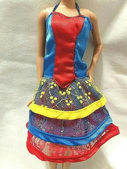 Barbie Doll Clothes Handmade RED BLUE YELLOW Lacy  Cocktail
