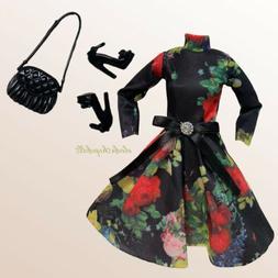 Barbie Doll Clothes Lot Vintage Floral Black Dress Fashion P