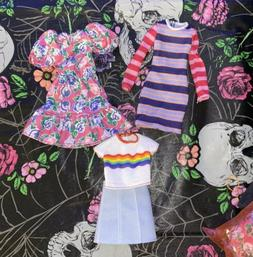 Barbie Doll Clothing Lot  Outfits Dresses Shirt Skirt Rainbo