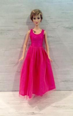 Barbie Doll Clothing Pink Chiffon Ankle Length Ballet Dress