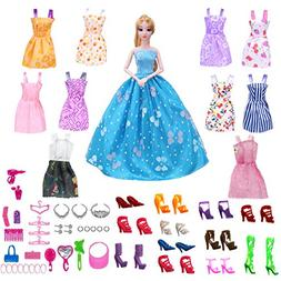 61 Pack Barbie Doll Clothes Dresses Party Gown Outfits - 10