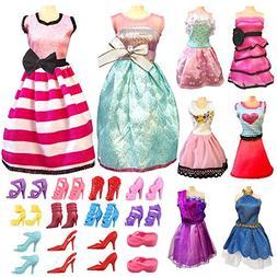 Barbie Doll Clothes Dresses Set Total 17pcs - 5 Set Fashion