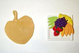 Barbie Doll Miniature accessories Fruit Plate, Fan For Barbi