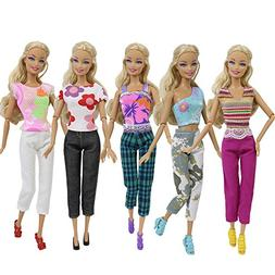 ZITA ELEMENT 10 Pcs Barbie Doll Clothes Outfits Sets | Handm