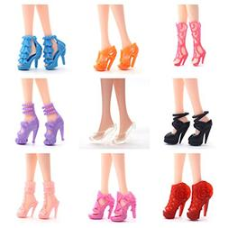 20 Pair Barbie Doll Shoes Party Different High Heel Shoes Bo