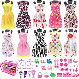 Barbie Doll Clothes Set, Include 10 Pack Doll Clothes Party
