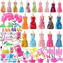 SOTOGO 125 Pcs Doll Clothes Set for Barbie Dolls Include 20