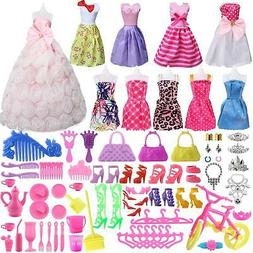 SOTOGO 85 Pcs Doll Clothes Set for Barbie Dolls Include 10 P