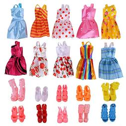 Fengirl 10 Pack Barbie Doll Clothes Wedding Party Gown Outfi
