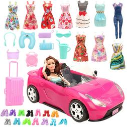 Barwa for Barbie trolley + luggage + 8 accessories + 10 shoe