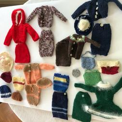 BARBIE TYPE skating outfits, skirt & sWeater sets, 7 hats, 4