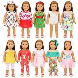 BARWA 19PCS American Doll Girl Clothes and Accessories for 1