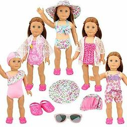 BARWA 5 Sets 18 Inch Swimming Clothes With Pair Sunglasses A