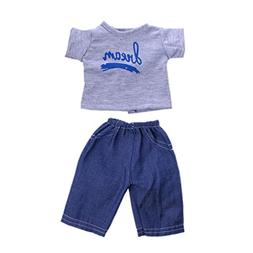 """MagiDeal Basic Gray T-Shirt + Jeans Pants for 18"""" American G"""