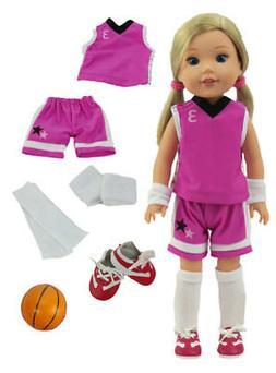 "Basketball Uniform & Ball Purple Doll Clothes For 14.5""  Wel"