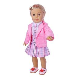 Binmer American Girl Doll Clothes 4PC Student Clothing Pleat