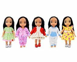 Ebuddy 5-Piece Bitty Baby Doll's Clothes for 14-16 Inch Amer
