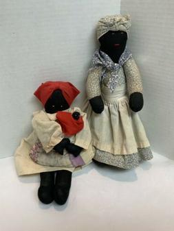 Black Americana Folk Art Handmade Cloth Rag Dolls Lot Of 2