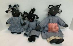 Black Americana Rag Dolls Hand Made Cloth Dolls Lot Of 3