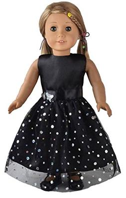 Ebuddy Black Butterfly Doll Dresses Clothes Fits 18 Inch Dol