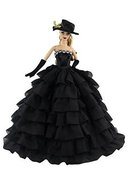 Black Fashion Clothes Dess+gloves+hat for Barbie Doll