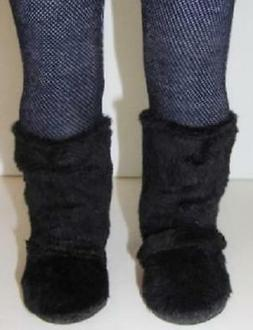 BLACK Fur Slouch BOOTS for American Girl Doll 18 Inch Doll S