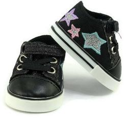"Black Glitter and Stars Tennis Shoes Sneakers for 18"" Americ"