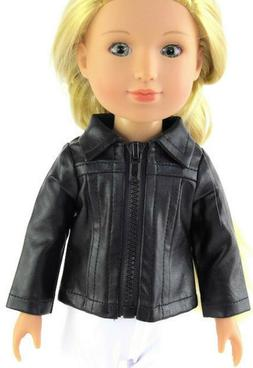 "Black Leather Jacket fits 14.5"" American Girl Wellie Wishers"