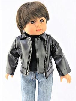 "Black Leather Jacket-Fits 18"" American Girl Dolls, Madame Al"