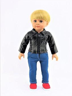 "Black Leather Jacket | Fits 18"" American Girl Dolls, Madame"