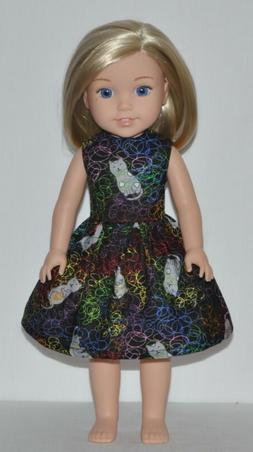 Black Neon Cat Doll Dress Clothes Fits American Girl Wellie