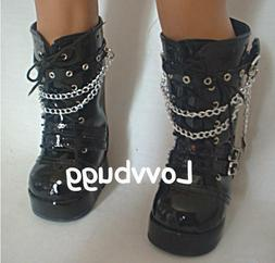 "Black Patent Tall Rocker Boots for American Girl 18"" Doll Sh"