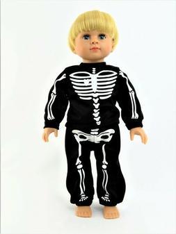 "Black Skeleton Halloween Pajama Pant Set Fits 18"" American G"
