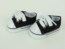 "Black Sneakers Fits 18"" American Boy or Girl Doll Clothes Sh"