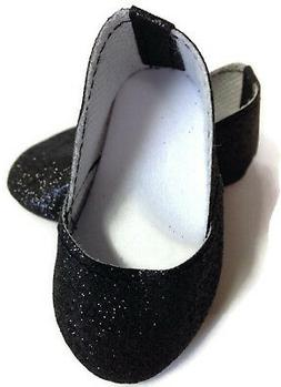 Black Sparkle Princess Shoes for 18 inch American Girl Doll