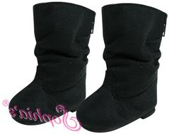 18 Inch Doll Shoes Black Suede Slouchy Boots Fits American Girl Dolls