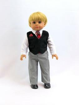 "Black Suit Pant Set Fits 18"" American Boy or Girl Doll Cloth"