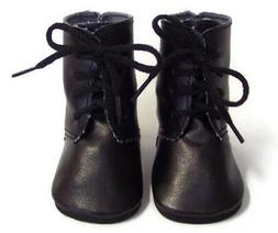 "Black Tie Boot Shoes made for 18"" American Girl Doll Clothes"
