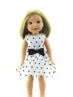 Black and White Polka Dot Dress -Fits 14 Inch Wellie Wisher