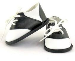 "Black White Saddle Oxfords Shoes for American Girl 18"" 15"" D"