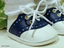 """BLUE & WHITE Saddle Oxford DOLL SHOES fits 18"""" AMERICAN GIRL"""