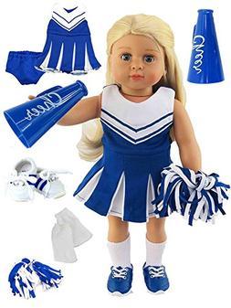 Blue Cheerleader Outfit Cheerleading Uniform with Dress, Blo