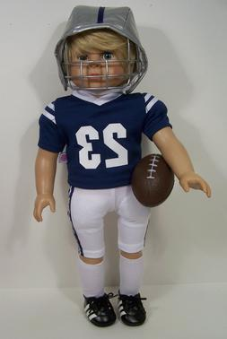 BLUE Complete Football Uniform Doll Clothes For 18 American
