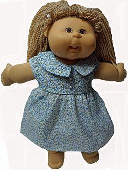 Blue Flowers Dress Fits Cabbage Patch Kid Dolls And 15-16 In