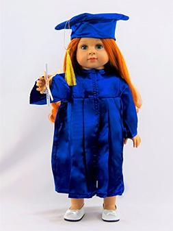 """Blue Graduation Cap, Gown, and Diploma -Fits 18"""" American Gi"""