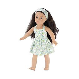 18 Inch Doll Clothes | Blue and Green Flowered Halter Dress,